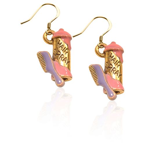 Hair Spray and Comb Charm Earrings in Gold