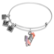 Hair Spray & Comb Charm Bangle in Silver