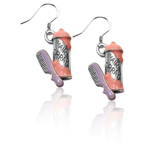 Hair Spray and Comb Charm Earrings in Silver