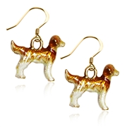Golden Retriever Dog Charm Earrings in Gold