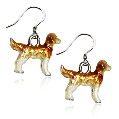 Golden Retriever Dog Charm Earrings in Silver