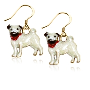 Pug Dog Charm Earrings in Gold