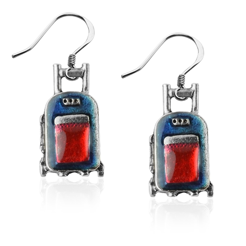 Travel Bag Charm Earrings in Silver