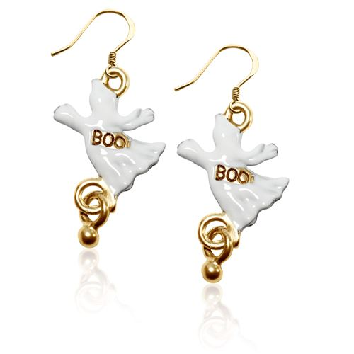 Ghost Charm Earrings in Gold