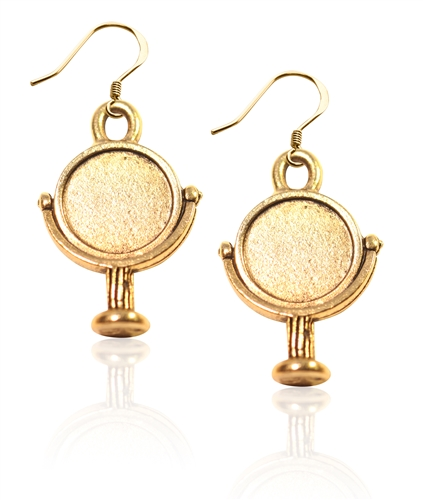 Mirror Charm Earrings in Gold