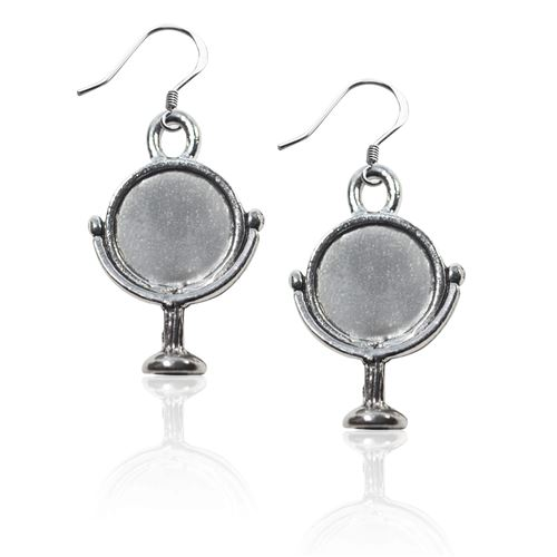 Mirror Charm Earrings in Silver