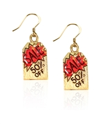 50% Off Sales Tag Charm Earrings in Gold