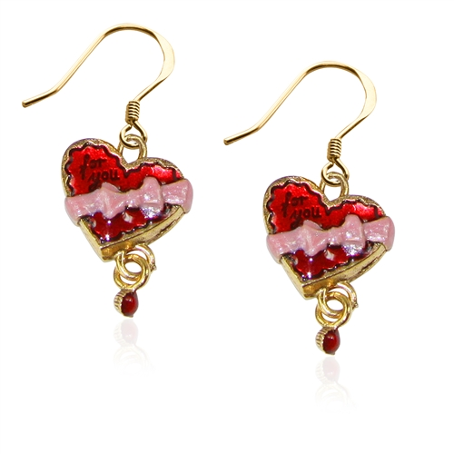 Heart Chocolate Box Charm Earrings in Gold