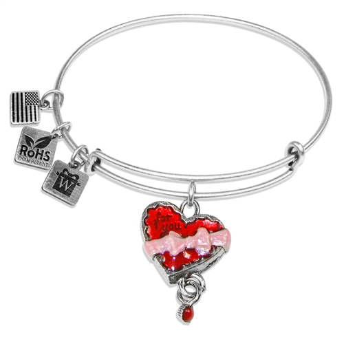 Chocolate Box Charm Bangle in Silver