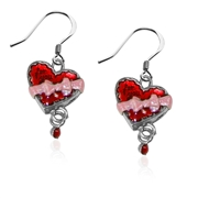 Heart Chocolate Box Charm Earrings in Silver