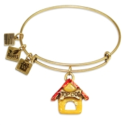 Dog House Charm Bangle in Gold
