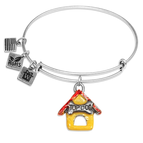 Dog House Charm Bangle in Silver
