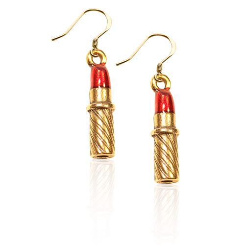 Lipstick Charm Earrings in Gold