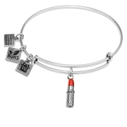 Lipstick Charm Bangle in Silver