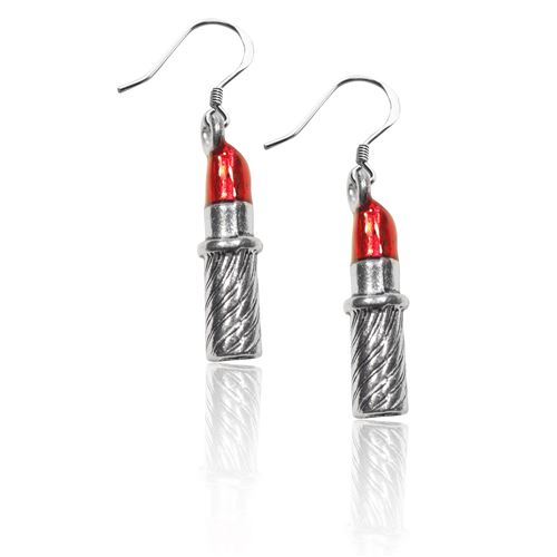 Lipstick Charm Earrings in Silver