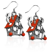 Haunted House Charm Earrings in Silver
