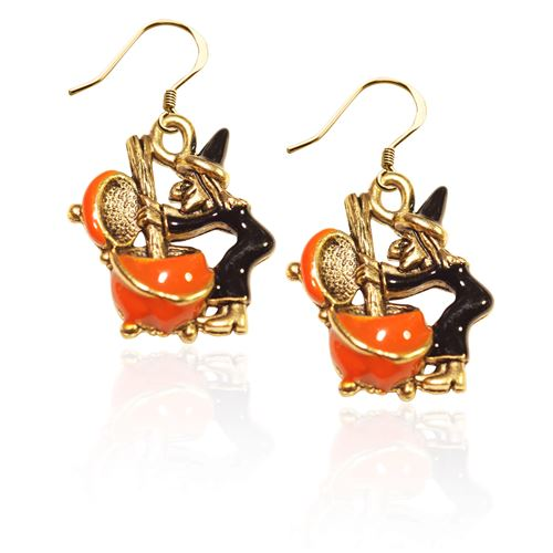Witch Charm Earrings in Gold
