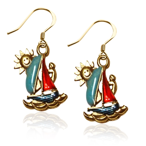 Sailboat Charm Earrings in Gold