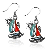 Sailboat Charm Earrings in Silver