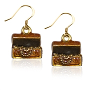 St. Patrick's Treasure Chest Charm Earrings in Gold