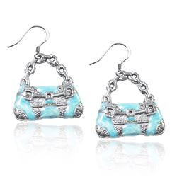 Retro Purse Charm Earrings in Silver