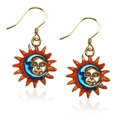 Astrology Sun and Moon Charm Earrings in Gold
