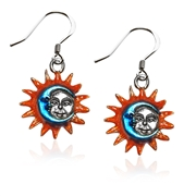 Astrology Sun and Moon Charm Earrings in Silver