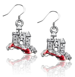 Sandcastle with Shovel Charm Earrings in Silver