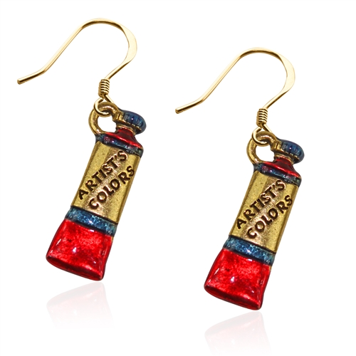 Artist Paint Tube Charm Earrings in Gold