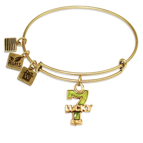 Lucky 7 Charm Bangle in Gold