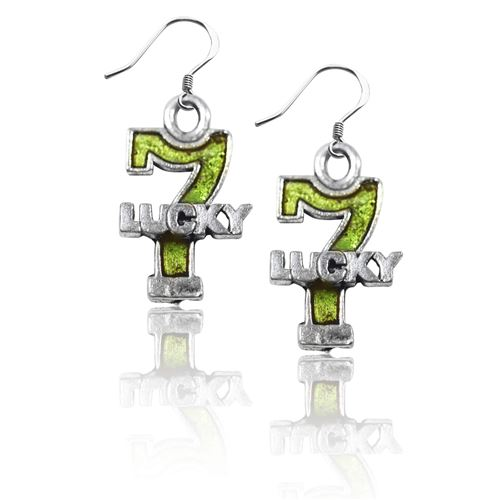 Lucky 7 Charm Earrings in Silver