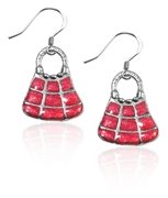Tic-Tac-To Purse Charm Earrings in Silver