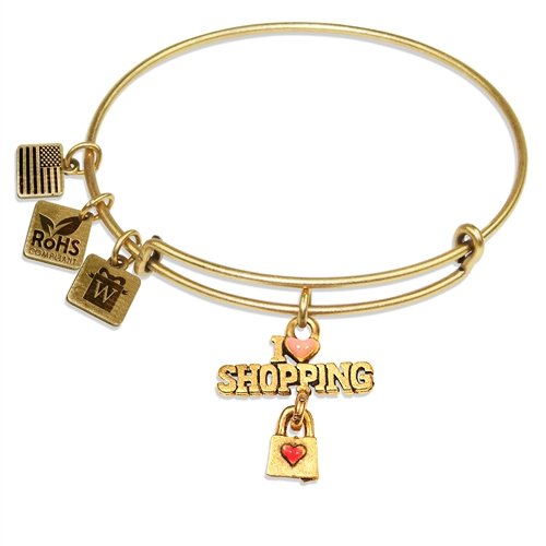 I Love Shopping Charm Bangle in Gold