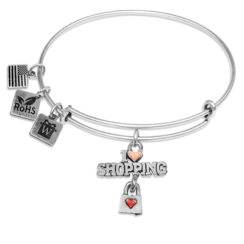 I Love Shopping Charm Bangle in Silver