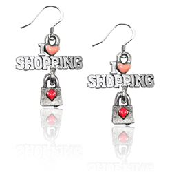 I Love Shopping Charm Earrings in Silver