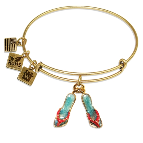 Flip Flops Charm Bangle in Gold