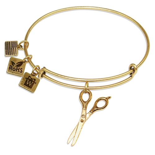 Scissors Charm Bangle in Gold