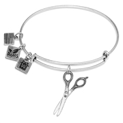 Scissors Charm Bangle in Silver