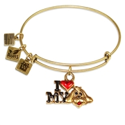 I Love My Dog Charm Bangle in Gold