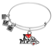 I Love My Dog Charm Bangle in Silver
