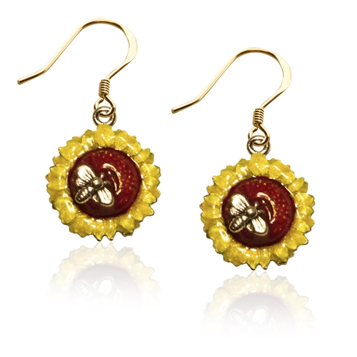 Sunflower Charm Earrings in Gold