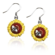 Sunflower Charm Earrings in Silver