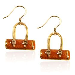 Tube Purse Charm Earrings in Gold
