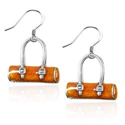 Tube Purse Charm Earrings in Silver
