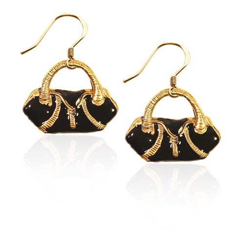 Flap Purse Charm Earrings in Gold