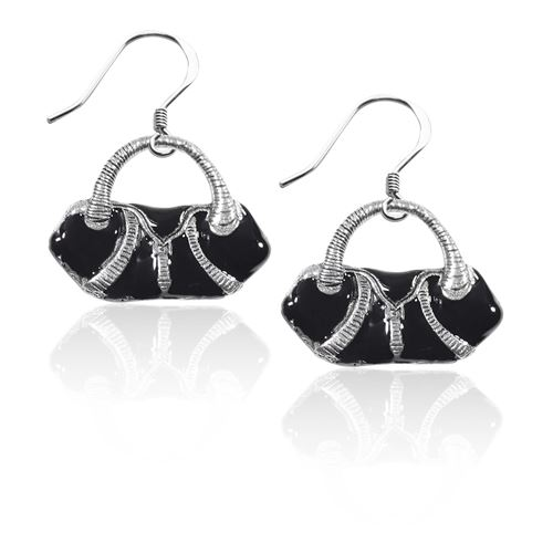 Flap Purse Charm Earrings in Silver