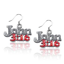 John 3:16 Charm Earrings in Silver
