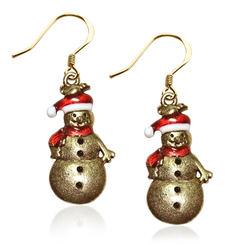 Snowman Charm Earrings in Gold