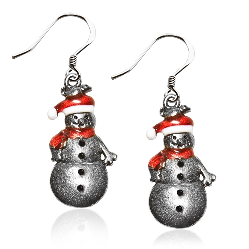 Snowman Charm Earrings in Silver