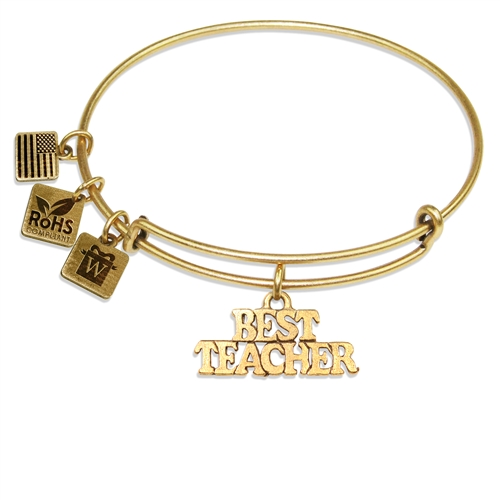 Best Teacher Charm Bangle in Gold